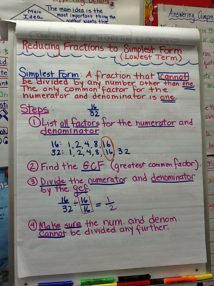 simplest form meaning Simplest form anchor chart  Simplest form anchor chart, Anchor