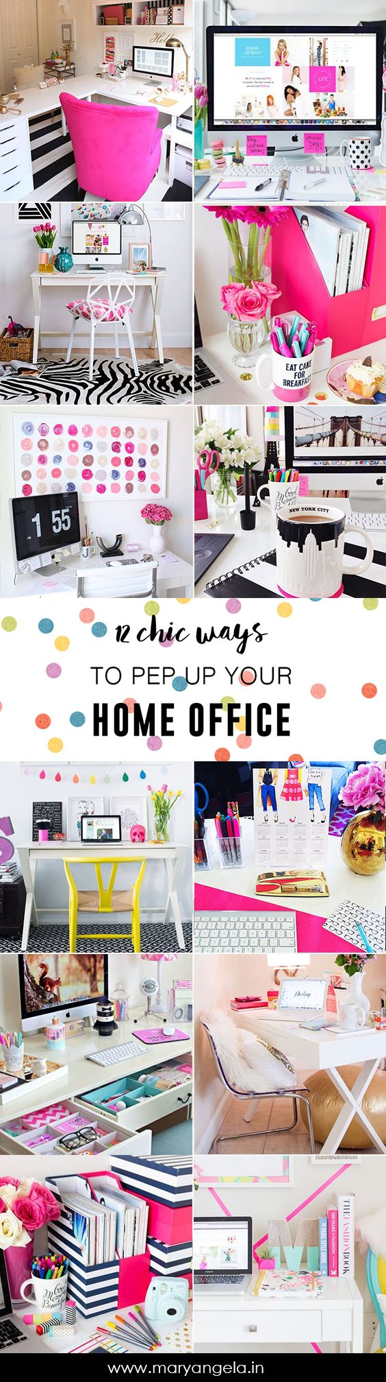 Now that you have decided to work from home, you need a designated work space. If you already have one and are looking for ways to make it jump to life so you can't wait to sit down to work, look no further! This list encompasses 12 Chic ways to Pep Up Your Home Office. Buckle down and go crazy on decor, starting NOW! 1. Get a really comfortable (and mighty cute) chair. Image Source A Queen is nothing without her throne. If you are sitting at your desk all morning, you will need to make…