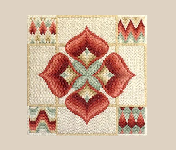 Encaje de aguja Vintage / Bargello bordado 1970 montado listo
