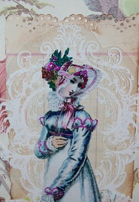 Regency Lady Mixed Media Collage: Mixed Media Collage