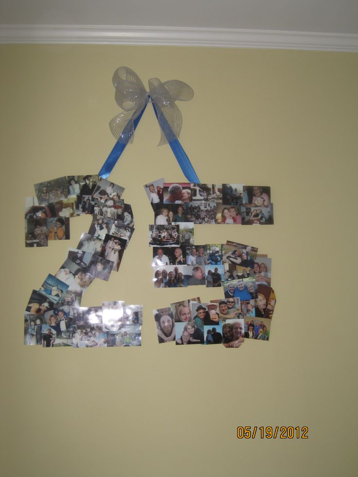 A collage of pictures in the shape of the number 25 for for 25th birthday decoration