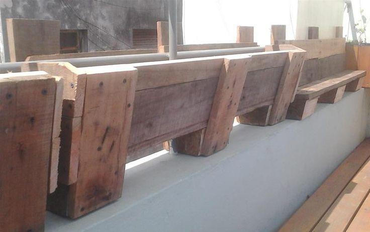 Canteros rústicos con maderas recicladas de pallets: Con Maderas, Wood, Bench, Bed, Maderas Recicladas, Pallet, Wood, Planter, Steigerhout