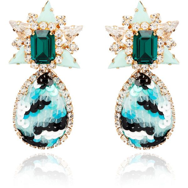 Shourouk Galaxy Sequin Earrings In Mint ($850) ❤ liked on Polyvore featuring jewelry, earrings, mint, clip back earrings, clip on earrings, mint green jewelry, mint jewelry and shourouk