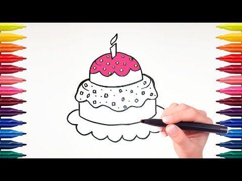 Как нарисовать и раскрасить простой торт на день рождения легко. - YouTube