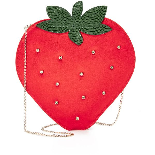Charlotte Olympia Strawberry Pouch (756 AUD) ❤ liked on Polyvore featuring bags, handbags, clutches, chain strap purse, zipper pouch, red clutches, zip purse and studded purse