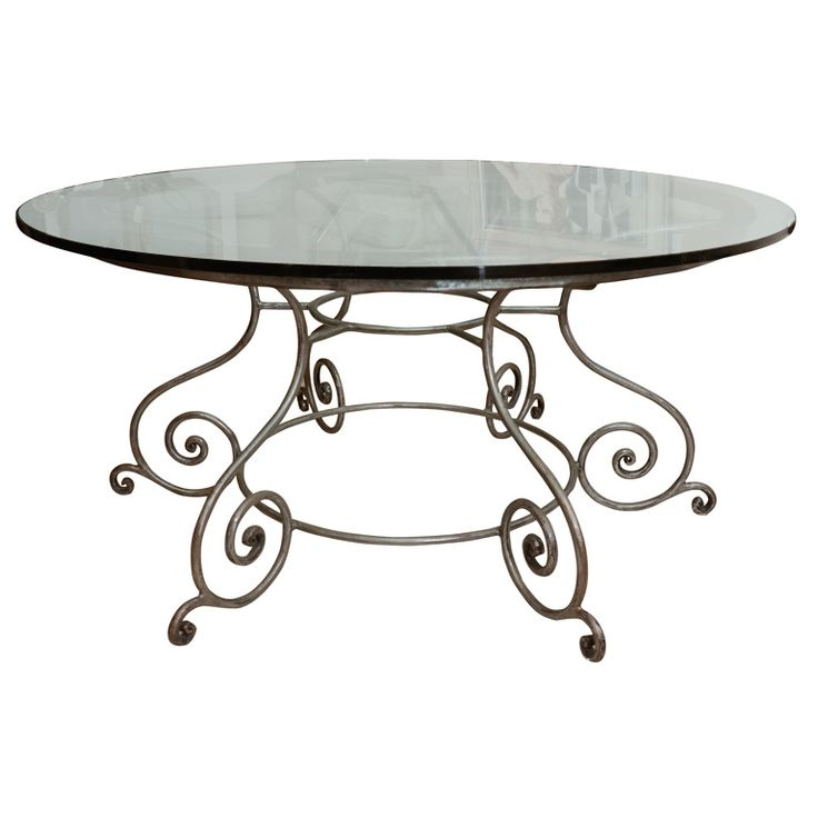 81 best images about glass top dining room tables on for Round glass top coffee table wrought iron