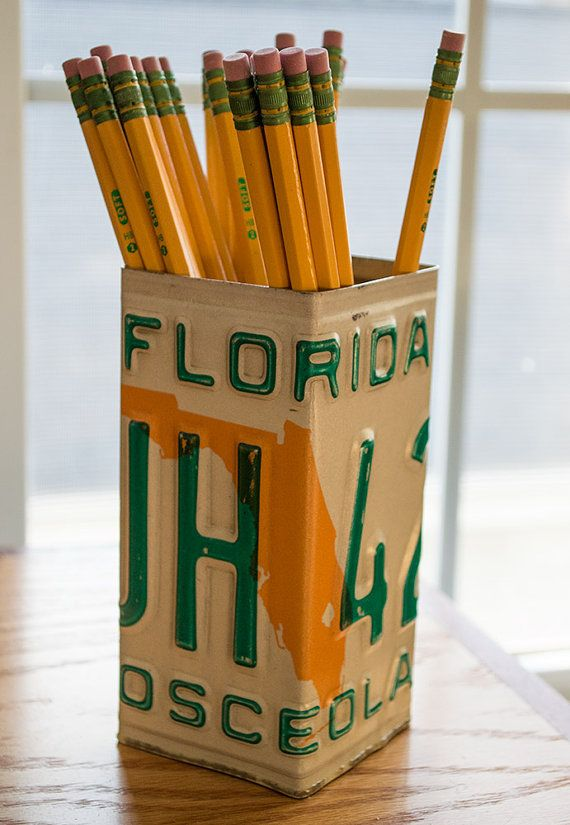Florida License Plate Pencil Holder