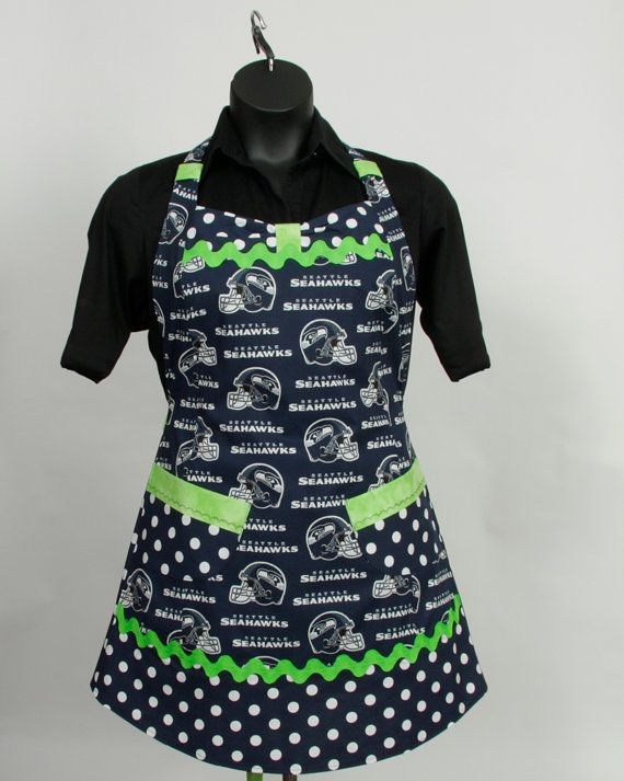 NFL Seahawks Apron Navy and Lime green Plus Size by apronqueen