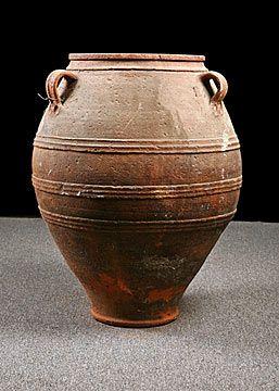 Greek Antique Three-Handle Terracotta Olive Oil Jar