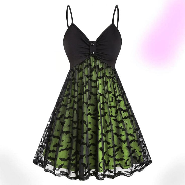 Description: Sweet Innocence Batty Dress cuz your love is pure as can be! Give 'em a twist of fate in this sexy part dress featuring its badass looking Halloween theme design offering a neon effect due to the inner clothing and see-through lace contraction. Specifications: Material: Polyester, PolyurethaneSilhouette: A-LineDresses Length: Knee-LengthNeckline: Spaghetti StrapSleeve Length: SleevelessEmbellishment: MeshPattern Type: Bat Size: Plus Size Halloween, Halloween Dress, Halloween Tops, Halloween College, Halloween Office, Cheap Halloween, Halloween Fashion, Halloween Outfits, Halloween Costumes