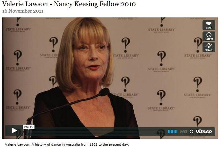 Valerie Lawson, Nancy Keesing Fellow 2010 Valerie Lawson traces the evolution of dance in Australia from the legendary Pavlova's visit in 1926 through to the establishment and development of the Australian Ballet (1962) and the Bangarra Dance Theatre (1989). This is set in the context of Australia's social, cultural and political climate. 16 November 2011