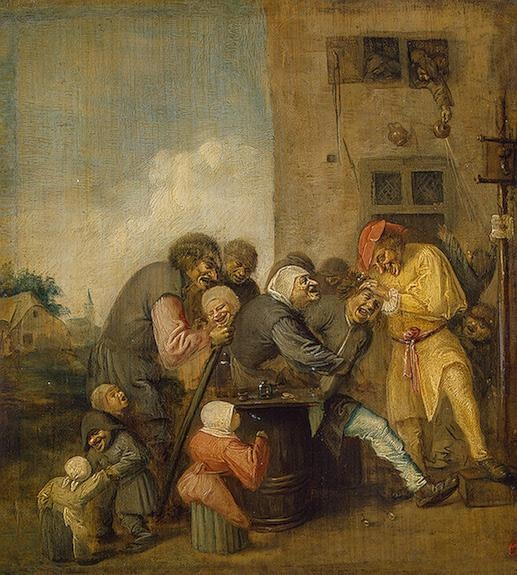 """Village Charlatan (The Operation for Stone in the Head) - Brouwer, Adriaen - Flanders. 1620s - Extracting the """"stone of stupidity"""""""