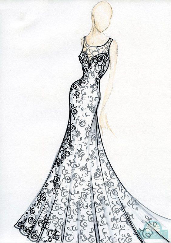 Vestido de noiva: saia ideal para baixinhas - Croqui por Casa Assuf