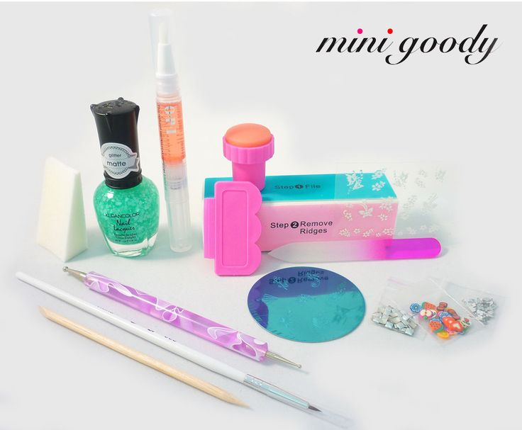 Nail Art Starter Kit #MiniGoody  Try all your favorite easy nail art ideas!  This set of nail art tools & samples helps make nail design simple. Also makes a unique and fun gift. Colors & scents vary as items are hand selected and gift wrapped.  Limited quantities available.  nail stamper & scraper stamping image plate dotting tool nail art brush sponge nail lacquer nail stickers  rhinestones square metallic studs pre-cut fimo canes buffer block crystal nail file cuticle oil pen orange stick