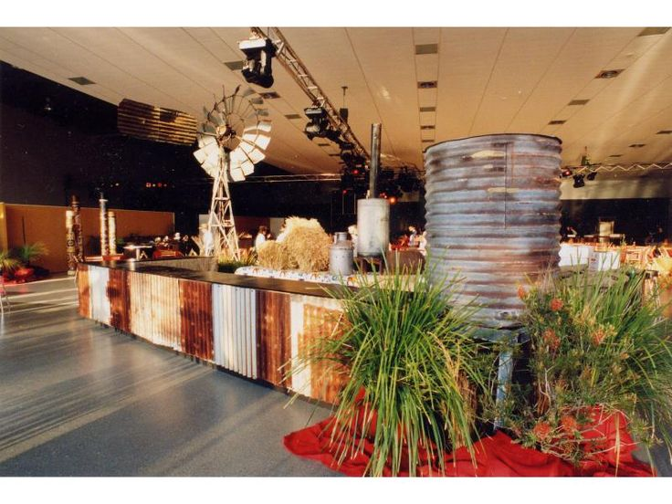 Our Rustic Australian Bar Is Very Popular For Aussie Outback Themed Events Real Corrugated Iron Flats Adorn Each Section With Black Top