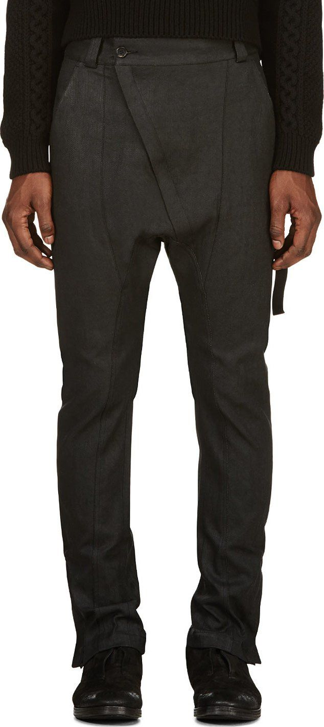 Alexandre Plokhov - Black Denim Asymmetric Zip Harem Jeans