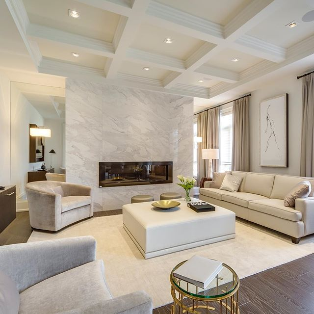 WEBSTA @ khl.ca - Waffle ceiling, dramatic fireplace with marble face and mirrors on each side are very important features that make this room as gorgeous as it is. Of course our bespoke upholstery are the finishing touch......#bespoke #fireplace #mirror #livingroom #familyroom #livingroomdecor #designporn #furniture #upholstery #kellyharveyliving