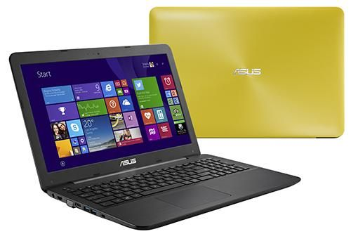 """Farebné notebooky ASUS K555LN vo farbách žltá, modrá, biela, čierna a tmavo hnedá. S procesormi Intel, grafikou NVIDIA® GeForce® GT 840M 2GB DDR3 a matným 15,6"""" LED displejom."""