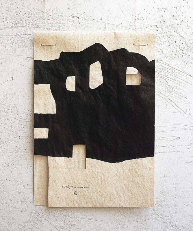 Eduardo Chillida (1924-2002) Gravitación (untitled/number not known), 1995. Cut paper, black ink and cord. 23.8cm H x 16.4cm W.