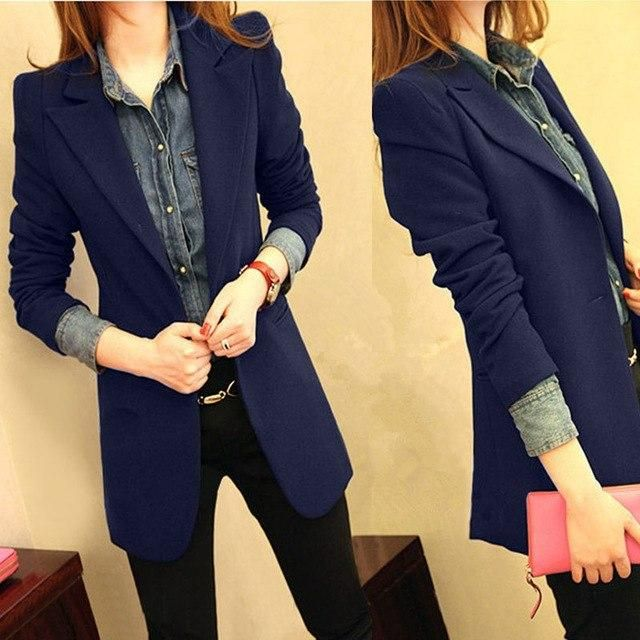 2019 Spring Jacket Blazer Feminino Women Blazers Jackets Plus Size Office Blazer Femme Women Small Suit Jacket C3874 dark blue S 3