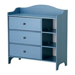 Dresser / Changing Table  TROGEN Chest  $179.00 from Ikea We'll be adding baskets for those cubbies for diapering essentials (cloth, disposable, wipes & creams most likely). But 3 drawers should be good enough for the first year (perhaps commandeering a rail from the boys' closet for dress clothes.