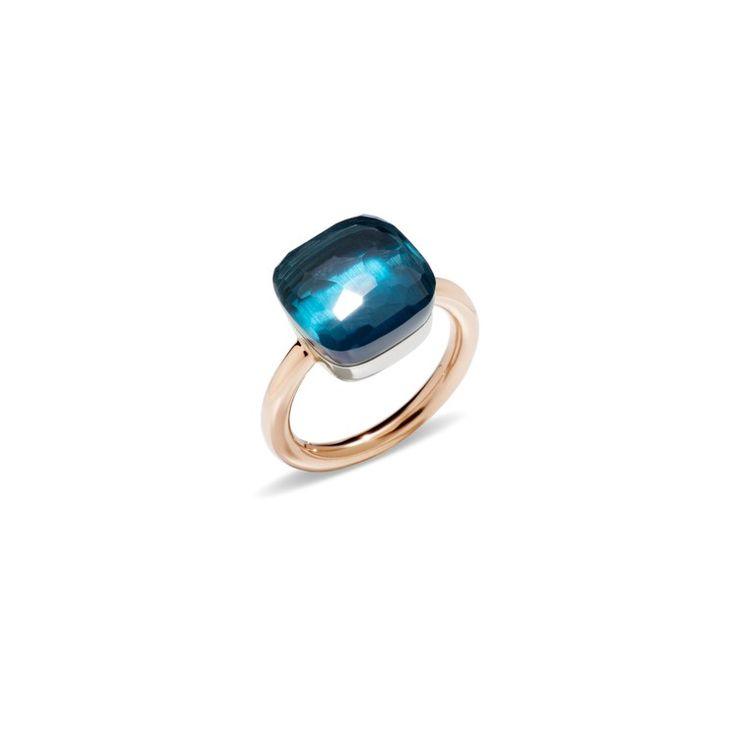 Love love love....ROSE GOLD RING WITH WHITE GOLD SETTING AND FACETED BLUE LONDON TOPAZ