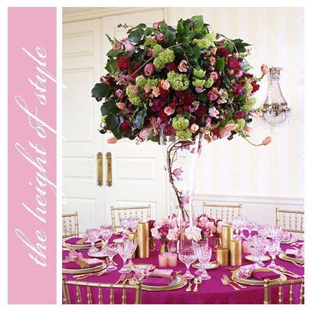 tall arrangementTables Sets, Flower Centerpieces, Tall Wedding Centerpieces, Wedding Ideas, Tables Centerpieces, Colors Schemes, Colors Coordinating, Tables Decor, Tall Centerpieces