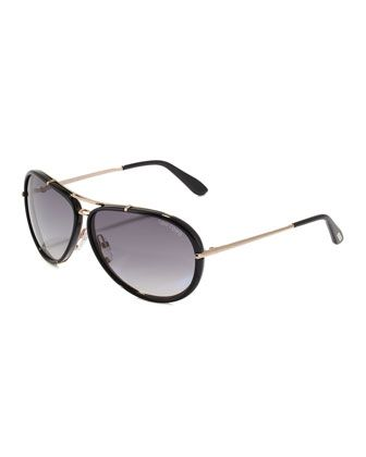 Cyrille Men\'s Aviator Sunglasses, Black/Gray by Tom Ford at Bergdorf Goodman.