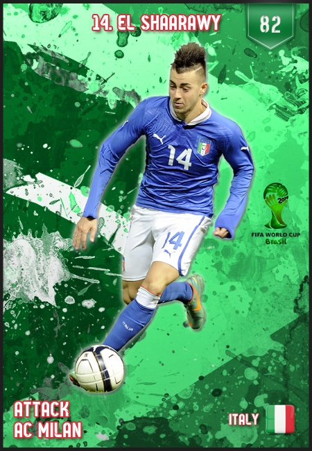 #ElShaarawy Italy FIFA World Cup 2014 Lineup  and he's wearing my lucky #