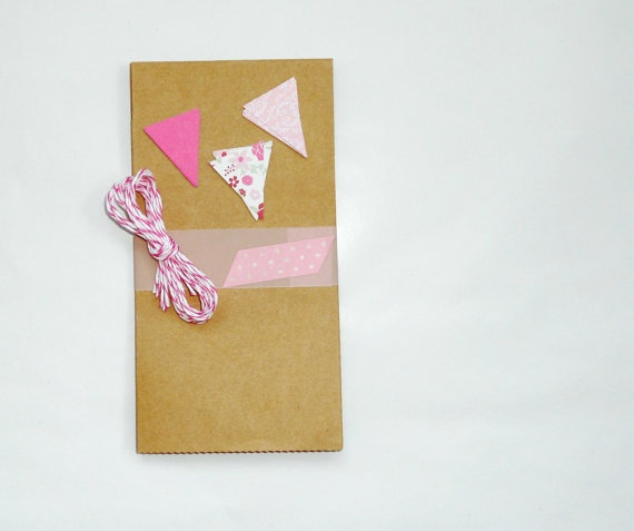 favor bag set pink bunting small 5pak wedding by magdalenarose,