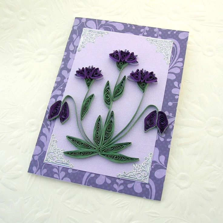 Paper Quilling Greeting Card Paper Quilled  Purple and Lavender  Heartflowers Birthday Congratulations  Handmade by Enchanted Quilling. $7.00, via Etsy.