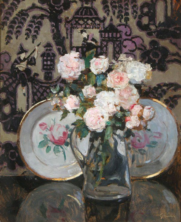 ✨ Jules Alexandre Grün (1868-1934) - Still Life with Flowers and Porcelain. Oil on board. Signed lower right, 61 x 50 cm