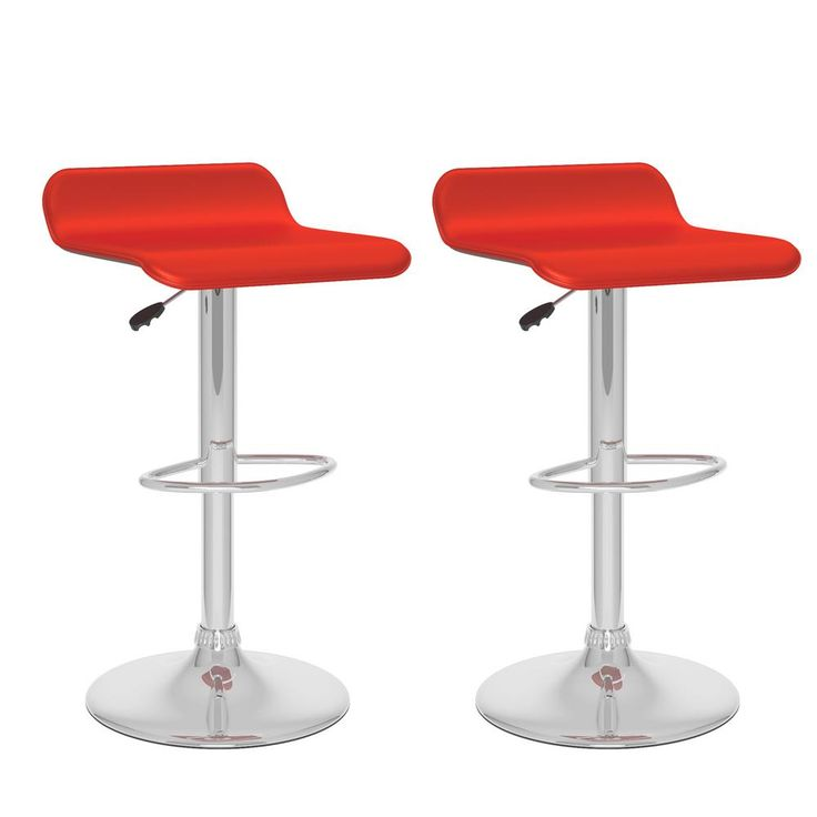 Adjustable Height Red Leatherette Swivel Bar Stool with Curved Seat (Set of 2)
