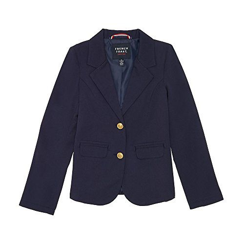French Toast Girls' Classic School Blazer  Polyester blend twill  Classic blazer styling  Embossed gold buttons at front closure and at sleeve  Fully lined  Functional front pockets