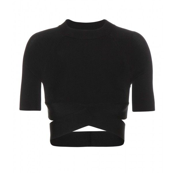 T by Alexander Wang Criss Cross Stretch Crop Top found on Polyvore