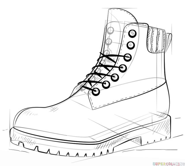 How to draw a hiking boot step by step. Drawing tutorials for kids and beginners.