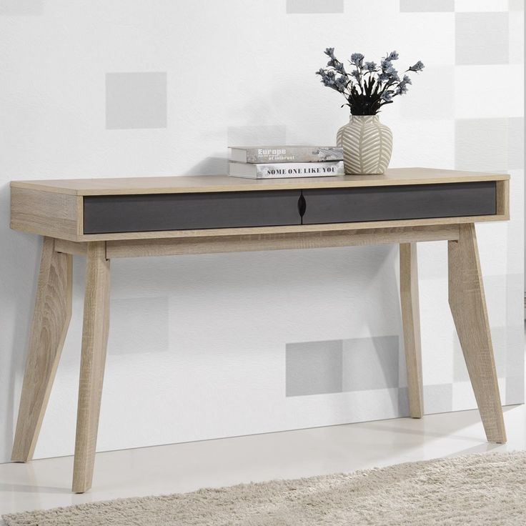 Mid-Century 2-Drawer Oak and Grey Study Desk by Baxton Studio