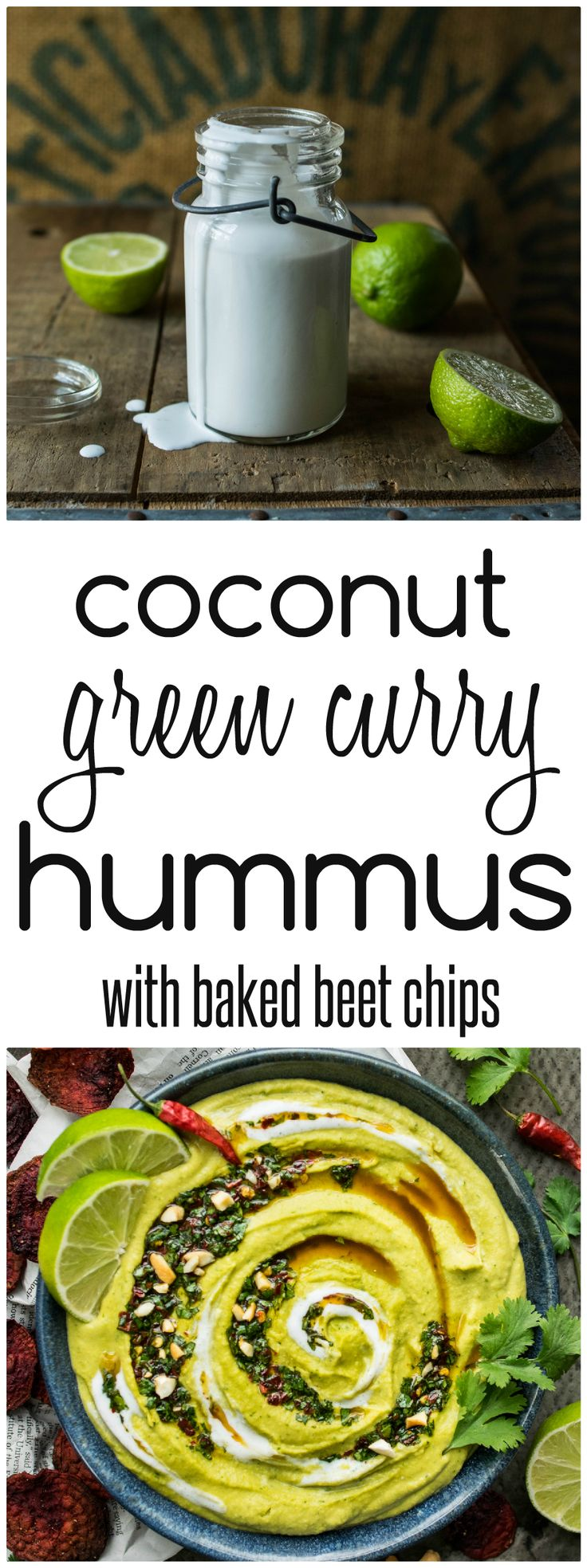 Coconut Green Curry Hummus with Baked Beet Chips from Reclaiming Yesterday