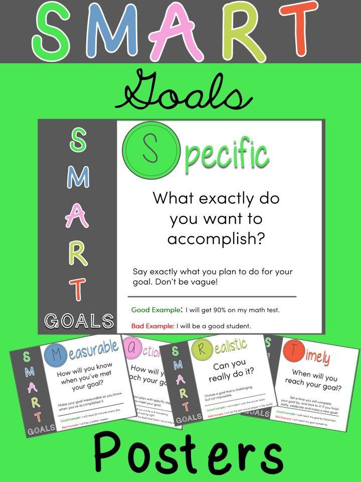 SMART Goals Posters   Student goals, Goals, Student leadership