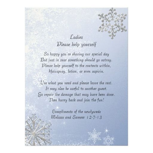 Crystal Blue Winter Snowflake Wedding Basket Sign Custom Invitation