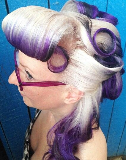 White purple ombre dip dyed retro vintage rockabilly hair