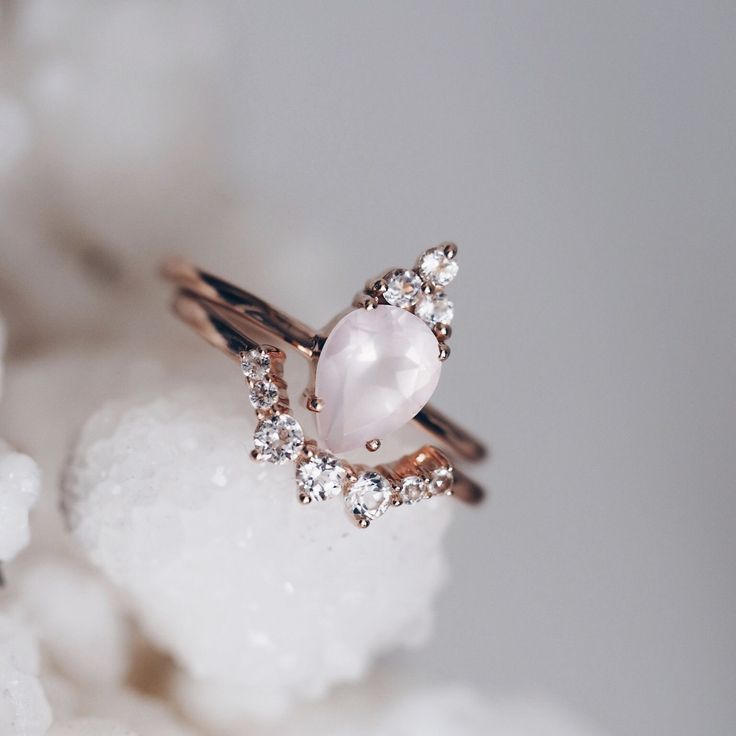 Rose Quartz Mahal ring, & Shambhala ring with white topaz, ethical engagement ring, bridal rings, vegan jewellery, fine crystal rings.