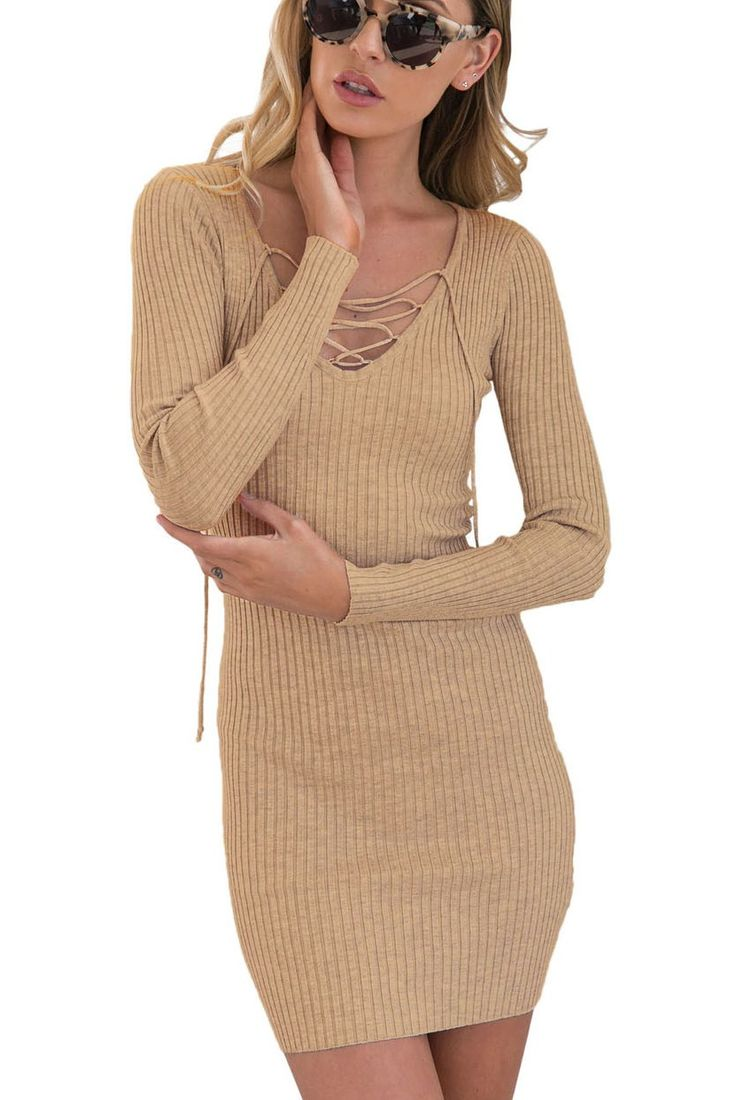 Prix: €15.99 Robe Pull Tricot Cotes Abricot Col V Manches Longues Lacets Pas Cher www.modebuy.com @Modebuy #Modebuy #Abricot #femme #femmes #sexy