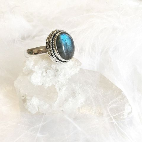 New Moon - Fiery Labradorite & Sterling Silver Ring