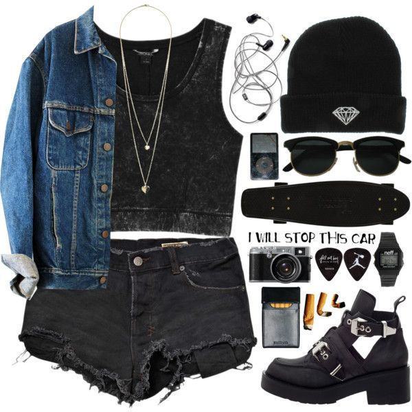 grunge by shaniaayr on Polyvore featuring mode, Monki, Ksubi, Jeffrey Campbell, Neff, Dorothy Perkins, black, grunge and camera