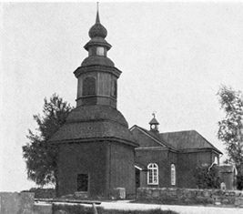 koski tl vanha kirkko rakennettu1817 edessä oleva kellotapuli on paikoillaan
