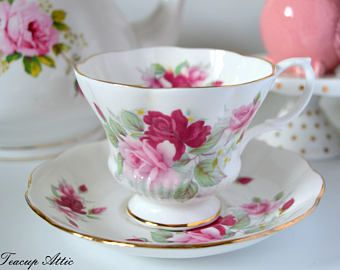 Royal Albert Pink And Red Floral Teacup Set, English Bone China Teacup And Saucer, Wedding Gift, ca. 1960