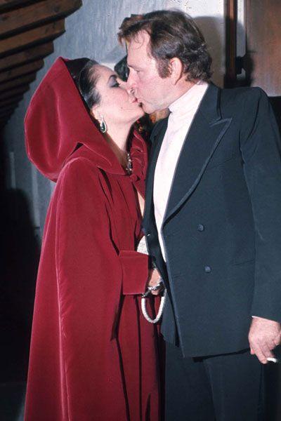 Liz Taylor y Richard en 1974, casados por segunda vez.