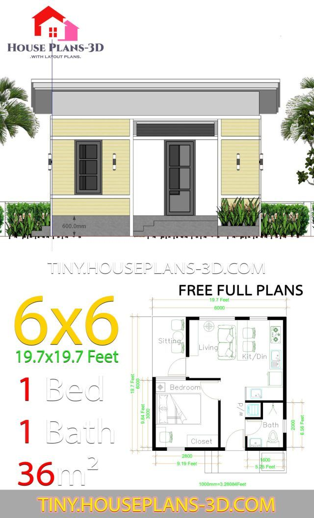 One Bedroom House Plans 6x6 With Shed Roof Tiny House Plans One Bedroom House Plans One Bedroom House House Plans
