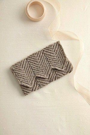 "Crochet Chevron Clutch ""Free pattern by Courtney"" add gusset handles"